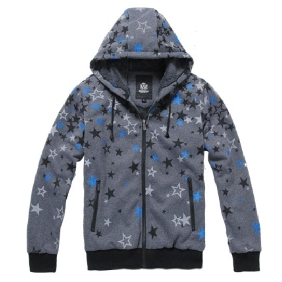 Men's Korean Plus Thick Velvet Warm Stars Printed Zipper Even Cap Jacket