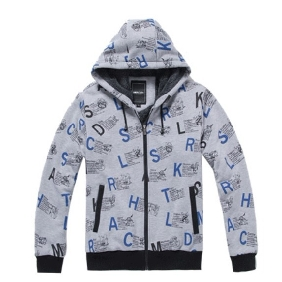Men's Korean Thick Velvet Cotton Letters Printed Zipper Even Cap Jacket