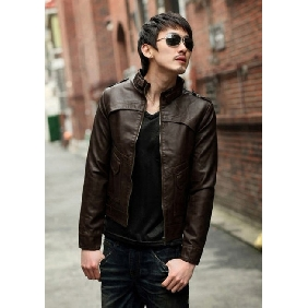 Men's Collar PU Leather Zipper Slim Korean Jackets