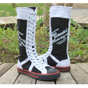 College of Fashion Features Canvas Flat Knee High Boots