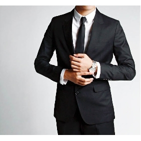 Men's Korean Casual Black Two Grain of Single Line Buckles Suits