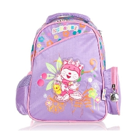 Purple Cartton Images on Kids Backpack Import of Zipper Non-woven Backpacks