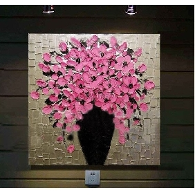 Pink Flower Abstract on Canvas Painting Frameless Hand-painted Oil Painting