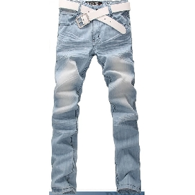 Men's Korean Style Jeans Straight Trousers Light Blue Jeans