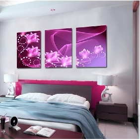 Modern Bedroom Decorative Frameless Pink Love Abstract Oil Paintings