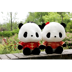 Wedding Present Plush Couple Dolls Giant Panda Dolls In Tang Suit