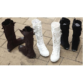 Women's Zipper Pure Color Canvas Leisure Knee High Boots