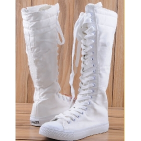 Women's White Leasure Canvas Knee High Boots