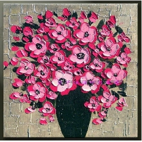 Hand-painted Thick Pink Flower Abstract Oil painting