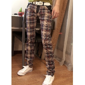 Men's Winter Scotland Plaid Cloth Jeans Slim Fit Long Trousers