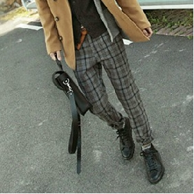 Men's British Style Plaid Slim Fit Leisure Trousers Pants