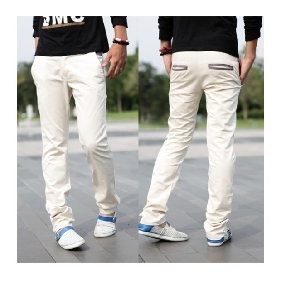 Men's Casual Korean Slim Fit Pants Cotton Trousers