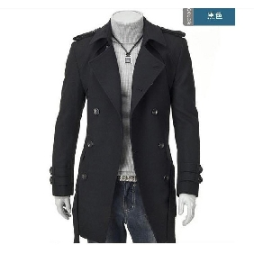 Men's British Style Large Lapel Double-breasted Woolen Coats