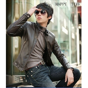 Men's Korean Slim Fit PU Leather Zip Jackets
