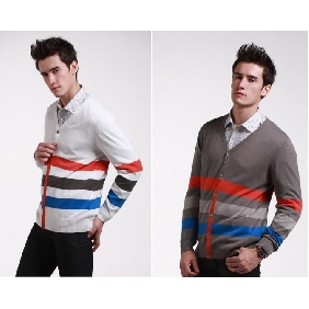 Men's Stripe Cardigan Thin Korean Style Clothing Sweaters