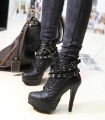 Women's Black Roman High-heels Removable Rivets Band Lace-up Ankle Boots Shoes