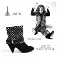 Ladies Fashion Europe Sexy Black Full Rivets Suede High Heels Ankle Boots