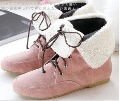 Cotton Fabric Flat-bottomed Pink Ankle Female Boot