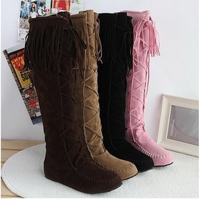 True Cowhide Tassel Lace-up Flat Knee High Boots
