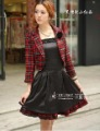 Anti - Wrinkle Embroidery Lapel Black Skirt Red Skirt 100% Cotton Appliqued Spring Women Dresses