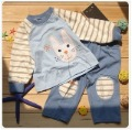Blue Stripes Long Sleeve & Pants Baby Clothing Sets