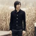 Men's Black Single-breasted Square Collar Thin Body Coats