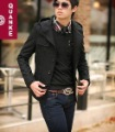 Men's Fashion Single-breast Button Even Cap Slim Fit Windproof Black Jacket