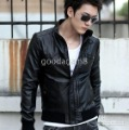 Men's Black Pleat Zipper Fur Two buttons Stand Collar Jacket