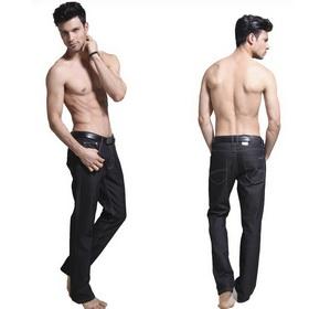 Men's Black Straight Leg Loose Jeans