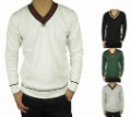 Wool Men's Computer Knitted V- neck Pullover Colourful Stripes Sweater