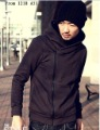 Men's with Cap Cotton Zipper Slim Body-shaped Coat