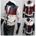 Men's Leisure with Hood Cardigan Fleeces Long Sleeve Zipper-up Even Cap Coat
