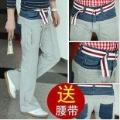 Stitching Double-waist Loose Denim Leisure Belt Sport Pants
