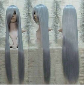 Silver Gray Extra Long Straight Cosplay Wig 100CM with Long Bang