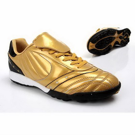 Men's White Breathable Yellow Lace-up Soccer Shoes
