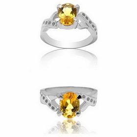 Women Sterling Silver Fashion White Rhinestone Yellow Crystal Ring
