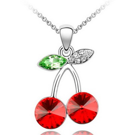Girls' Fancy Red Cherry Shape Crystal Pendant Copper Alloy Chian Necklace