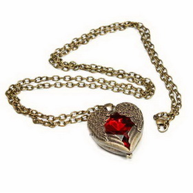 Vintage Heart Wings Design Stainless Steel Colorful Necklace