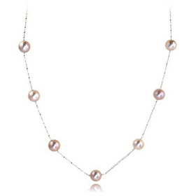 Ladies Three-colours Round Natural Freshwater Pearl with Silver Chains Necklace