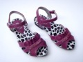 Girls Baby Purple PU Leather Sandals with Flowers
