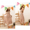 Amanda49 Cotton Collar and Elastic Waist Design Apricot Maxi Dress--Women's Dresses