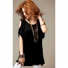 Amanda49 Sexy Black Cotton Off-the-Shoulder SpringSummer Blouse
