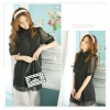 Amanda49 High Collar Frills Chiffon Black Short Sleeves Blouse--Women's Blouses