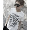 Amanda49 Fashionable Round Neckline Letter Embellished White Sleeves Cotton T-Shirt For Men