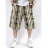 Amanda49 Fashion Hip Hop Style Casual Checker Pattern Drawnstring Design Middle Pattern Overalls