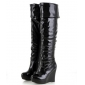 Shiny Patent Leather Sexy Pole Dancing Wedge Thigh-High Boots