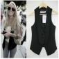 Korea Black Sleeveless Waistcoats for Women