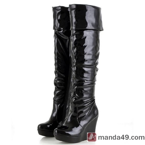shiny patent leather pole wedge thigh high